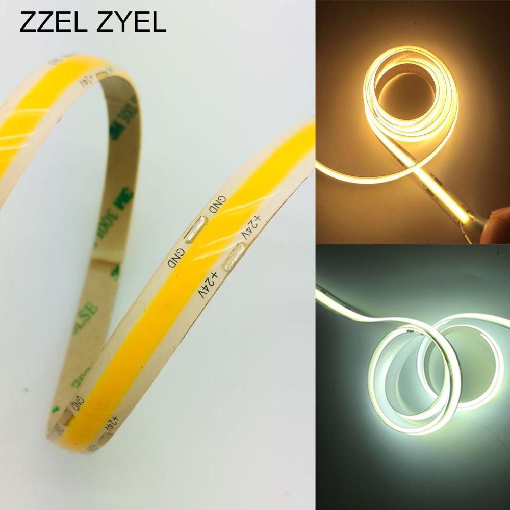 ZZEL ZYEL 고밀도 유연한 FR4 cob/Fob led 스트립 라이트 12 와트/M DC12V 24V 화이트/웜 화이트/옐로우/레드/블루/그린 0.5 m-5 M