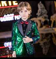 YuanLu Kids Suit For Boy Sequin Blazer Jacket Formal Costume Toddler Clothes British Style Green For Party Wedding