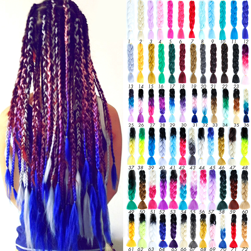 Allaosify 24'' 100g/pc Synthetic Ombre Braiding Hair Crochet Box Braids Hairstyle Hair Extensions Silver Gray Black Crochet Hair