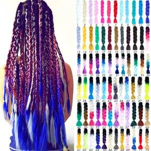 Allaosify 24'' 100g/pc Synthetic Ombre Braiding Hair Crochet Box Braids Hairstyle Hair Extensions Silver Gray Black Crochet Hair(China)