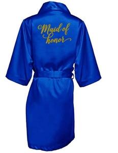 Image 3 - ROYAL BLUE Robe เจ้าสาวซาตินกิโมโน Robe ผู้หญิงงานแต่งงาน Sister of การพิมพ์เจ้าสาวเจ้าสาวเจ้าสาว robes