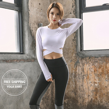 Women Gym White Yoga Crop Tops Shirts Long Sleeve Workout Fitness Running Sport T-Shirts Training Sportswear Sexy
