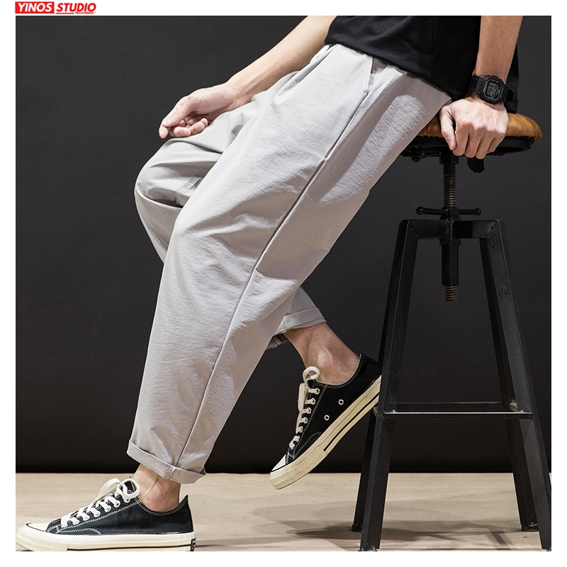 Dropshipping 2020 Men Summer Solid Harem Pants Mens Street-style Fashion Joggers Male Japanese Clothing Pants Bottoms Oversized