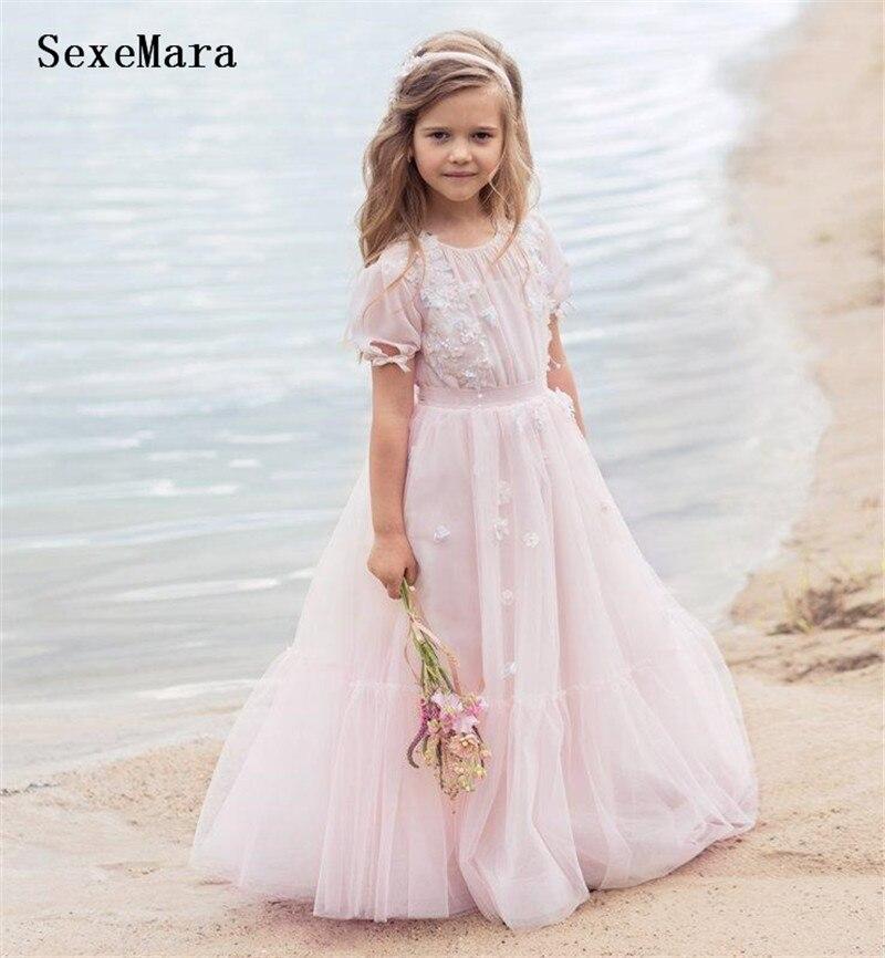 Girls   Clothes Pink Mesh   Flower     Girl     Dress   O Neck Sleeveless Wedding Party   Dress   for   Girls   Children Birthday Gown Custom Made