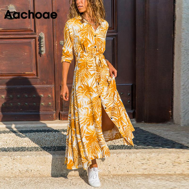 Aachoae Women Print Long Dress 2020 Spring Long Sleeve Buttons Split Dress Casual Turn-down Neck Ladies Sashes Shirt Dresses