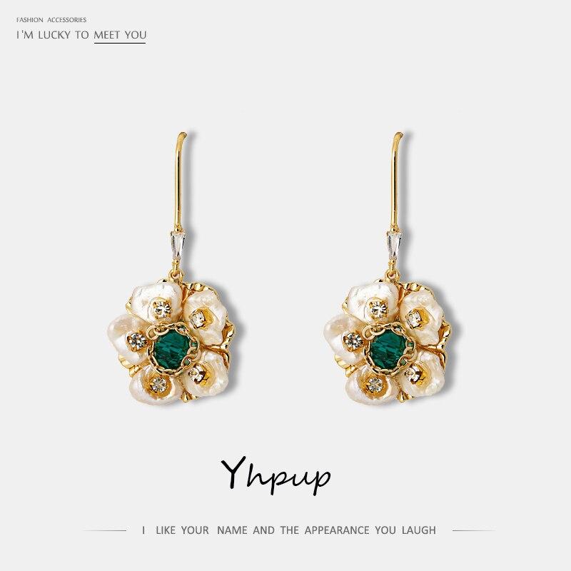 Yhpup Baroque Classic Natural Pearls Flower Dangle Earrings Elegant Luxury Rhinestone Statement Gold Earrings for Bride Gift New