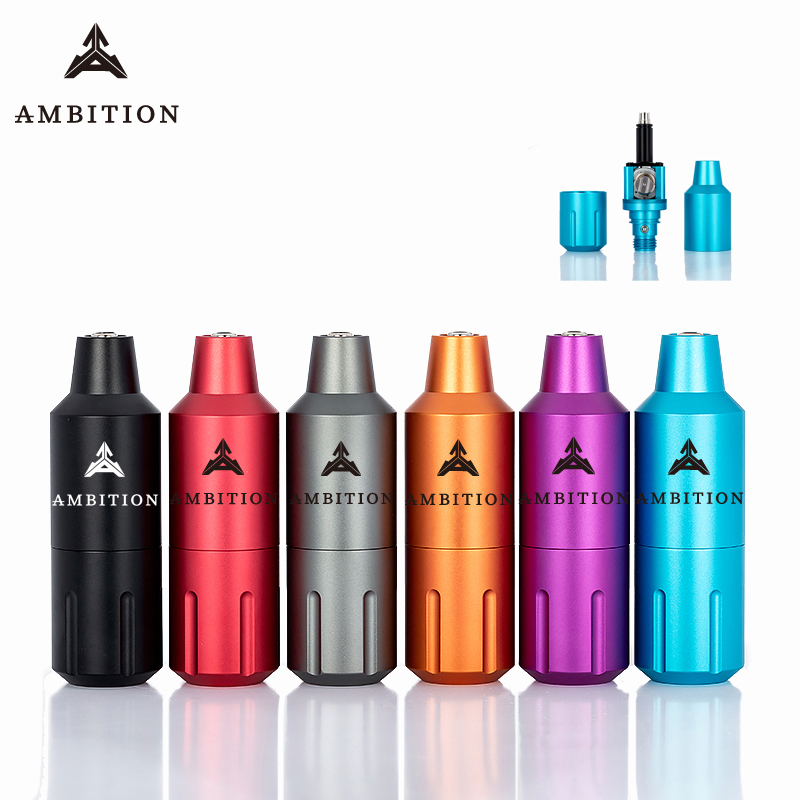 Ambition Tattoo Pen Machine Brushless Motor Direct Drive 34.5mm Speed 10V12000 Rpm CNC Detachable Non-slip Design Custom Logo