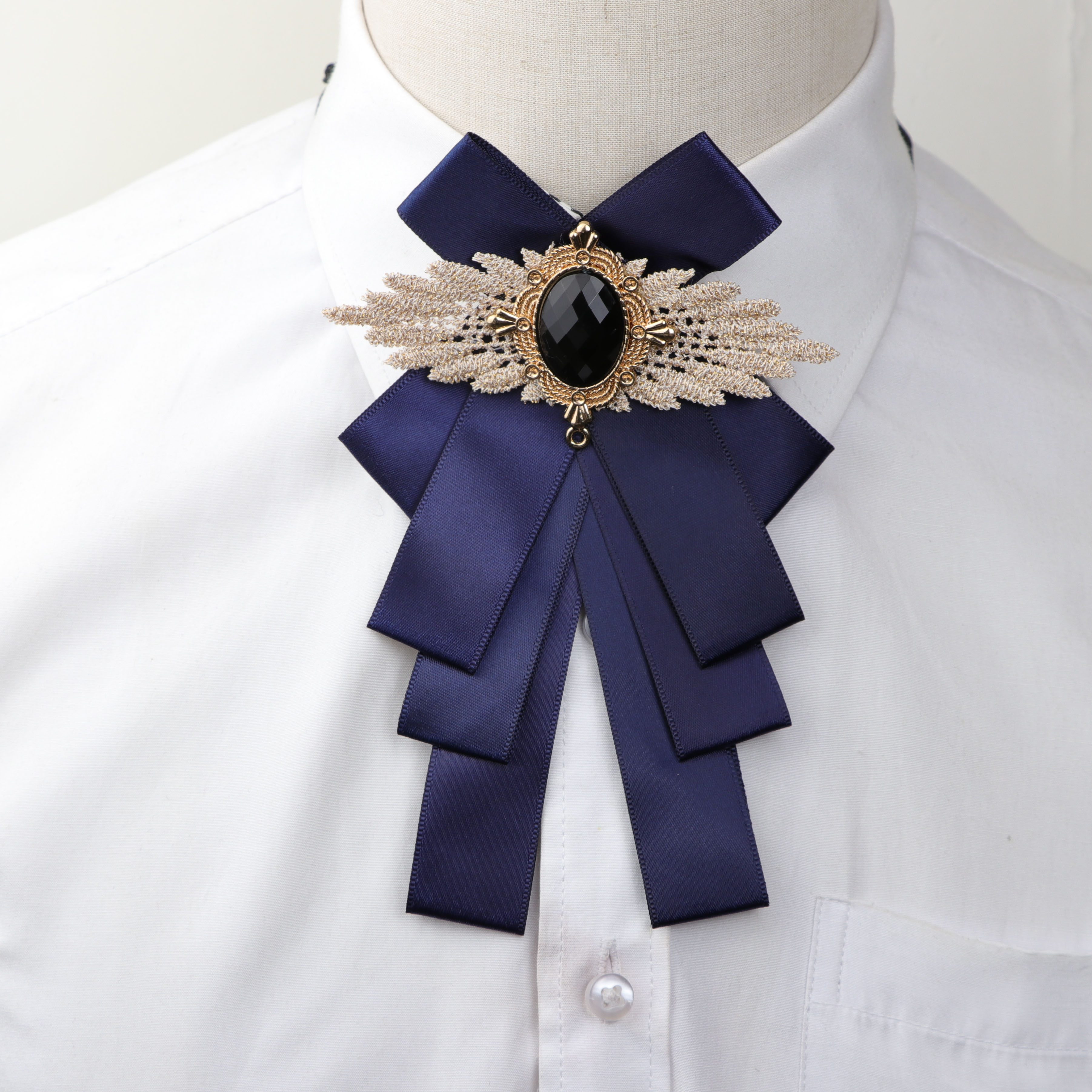Woman Big Bowtie Fashion Pretty Ribbon Solid Color Butterfly Bowknot Bow Tie Polyester Cravat Pin Lapel