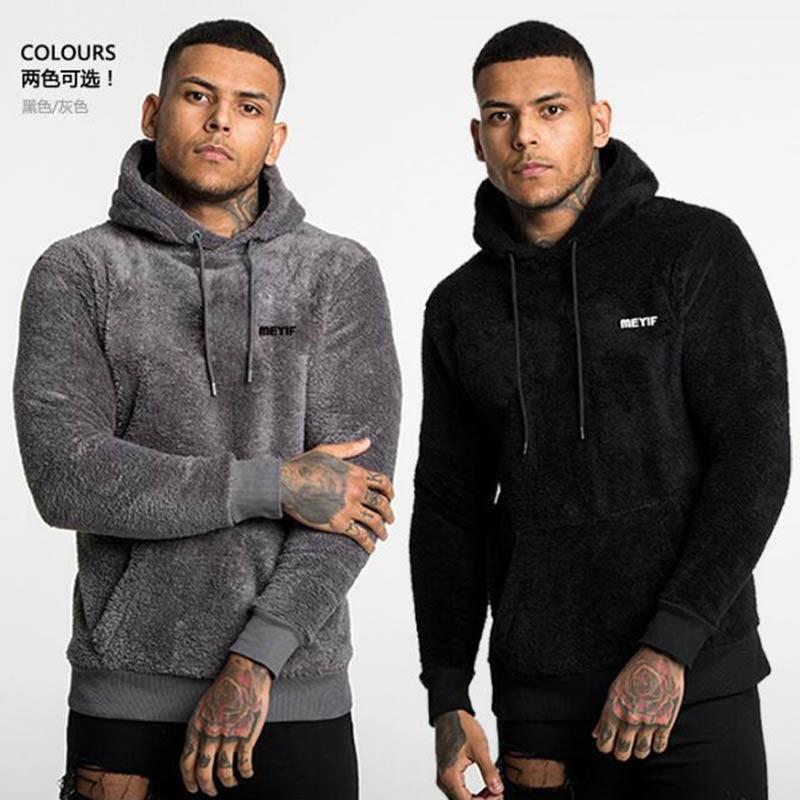 Men's Fashion Autumn Winter Outdoor Fleece Plus Velvet Padded Jacket Warm Hooded Sweatshirt Winter Jogging Fitness Sweatshirt