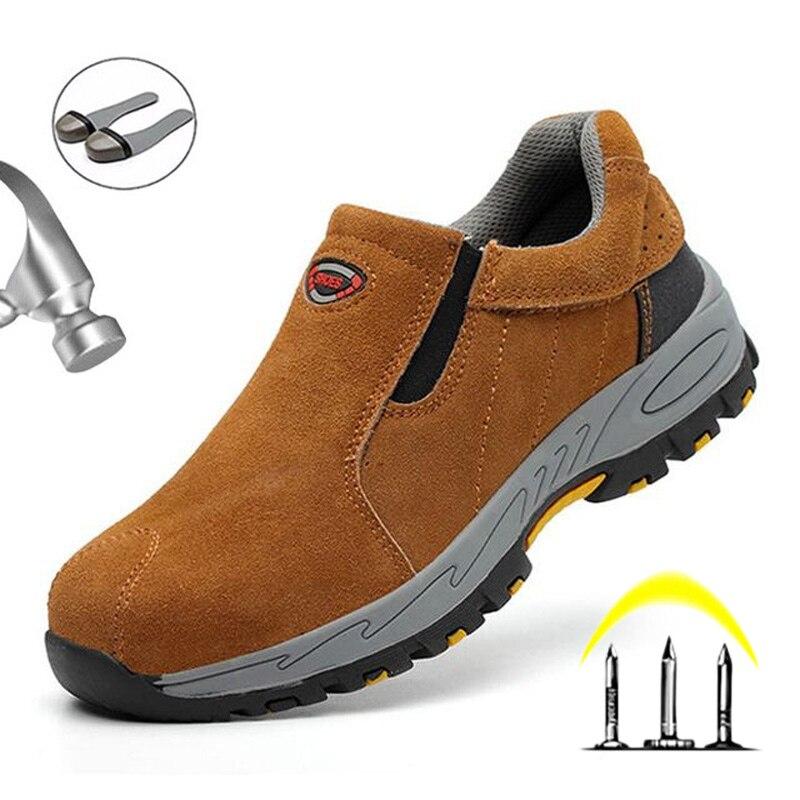 Men'S Winter Shoes Work Safety Boot Indestructible Leather Shoes Men Steel Toe Lightweight Anti Slip Working Winter Footwear