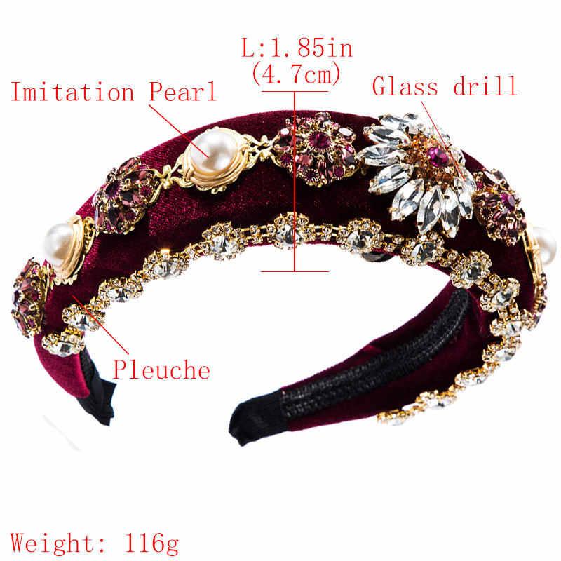 Mulheres luxo barroco jóias imitação pérolas strass faixa de cabelo bezel elegante veludo cetim acessórios para o cabelo
