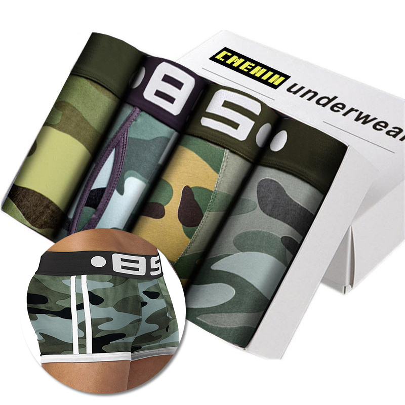 Camouflage 4Pcs Lot Men Boxer Underwear Cotton Soft Cueca Male Panties Sexy Slip Cueca Male Panties Hip Pouch Boxershorts Cuecas