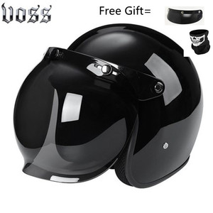 Image 4 - Fashion brand VOSS vintage motorcycle helmets matte black captain america Goggles Retro Vintage Style DOT