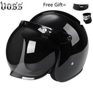Image 4 - Moda marka VOSS vintage motosiklet kaskları mat siyah kaptan amerika gözlük Retro Vintage stil nokta