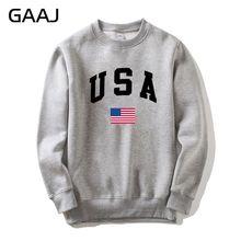 GAAJ USA flaga ameryki mężczyźni kobiety bluza Casual nadrukowane z kapturem popularna kurtka z polaru mężczyzna bluza Homme marka odzież