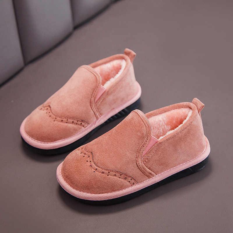 Winter Kinderen Schoenen Effen Kleur Katoen Pluche Warm Meisjes Sneakers Mode Kinderen Jongens Plat Meisje Laarzen Loafers SSJ057