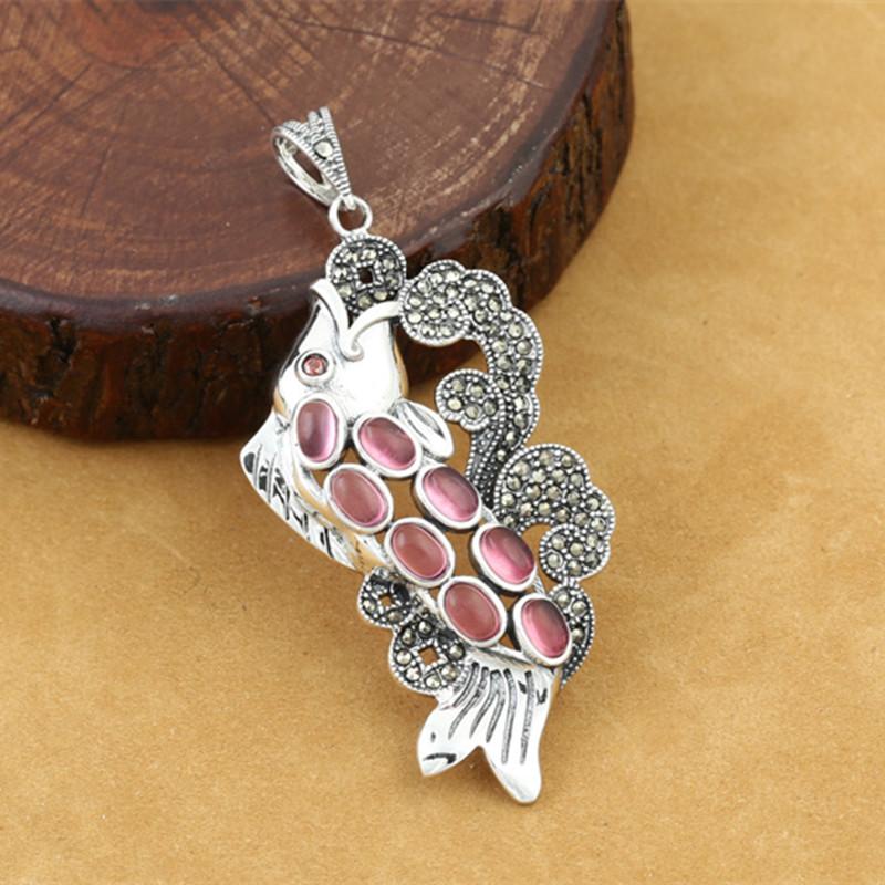 925 Sterling Silver Animal Fish Pendant For Women Retro Thai Silver Marcasite Inlaid Red Corundum Fine Jewelry