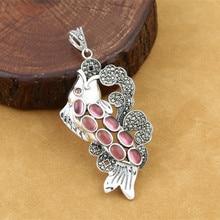 925 Sterling Silver Animal Fish Pendant For Women Retro Thai Silver Marcasite Inlaid Red Corundum Fine Jewelry недорого
