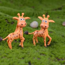 Artificial Mini Sika Deer Giraffe Fairy Garden Miniatures Gnomes Moss Terrariums Resin Crafts Figurines Home Decoration 2Pcs/Set(China)