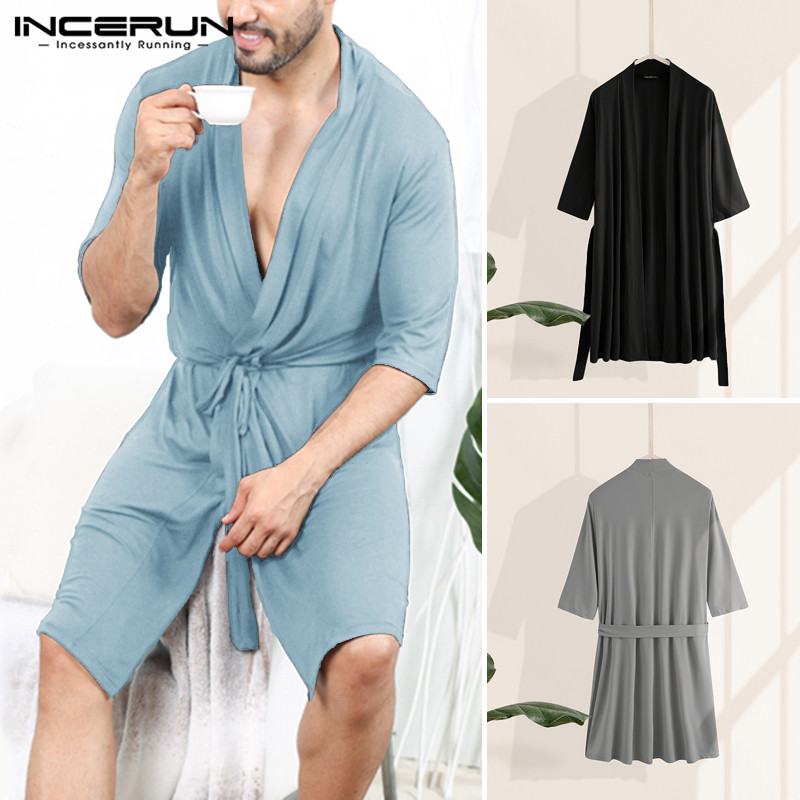 INCERUN Men Robes Half Sleeve V Neck Sleepwear Casual Solid Color Pajamas Unisex Couple Bathrobe Loose Summer Comfortable Kimono