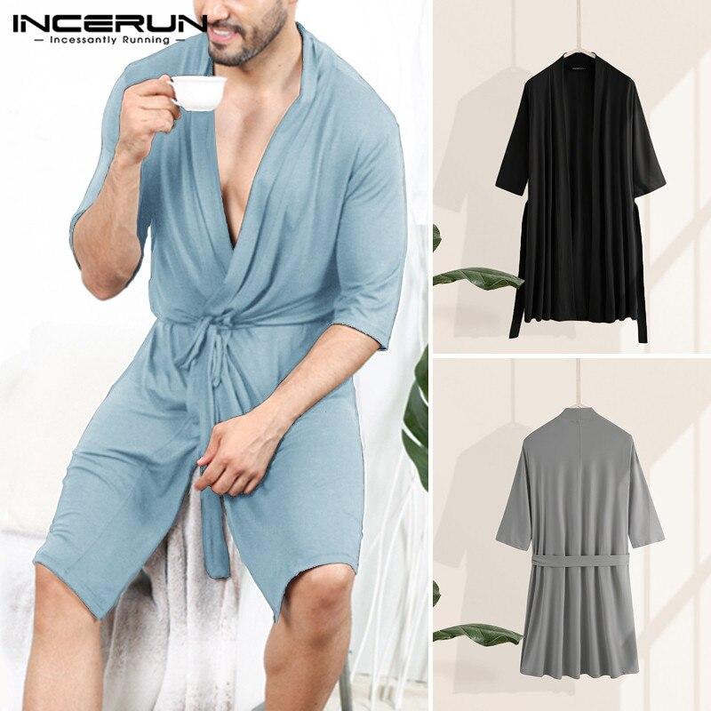 INCERUN Men Robes Half Sleeve V Neck Sleepwear Casual Solid Color Pajamas Unisex Couple Bathrobe Loose Summer Comfortable Kimono