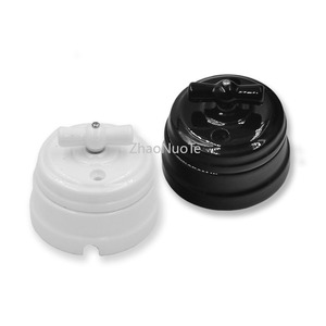 Image 1 - 10pcs High Quality Retro EU Ceramic Rotary Electrical Switch Ceramic Knob Wall Lamp Switch 10A 220V