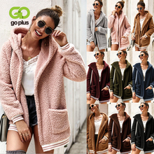 GOPLUS Faux Fur Fluffy Long Sweatshirt Hoodies Sleeve Oversize Cardigans Women 2019 Autumn Winter Streetwear Sudadera Mujer