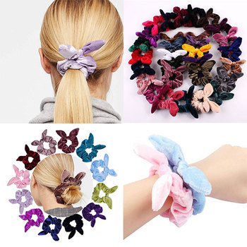 1PC Vintage Scrunchies Velvet Hair Tie Women Bunny Cute Rabbit Ear Elastic Hair band Hair Accessories for Girls Ponytail Holder image