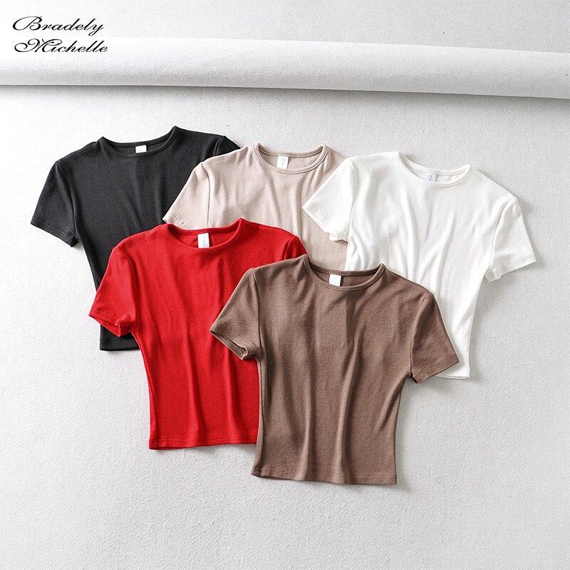 Модная повседневная женская облегающая футболка Bradely Michelle на лето 2020, облегающая хлопковая футболка с коротким рукавом и круглым вырезом, к...