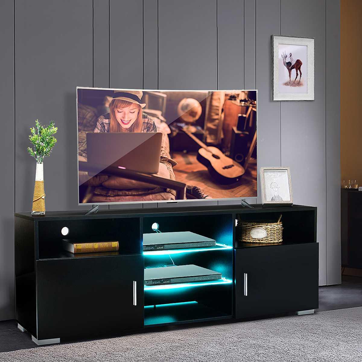 57 zoll Hochglanz Tv-ständer Schrank mit LED Licht TV Einheit Halterung Hause Eingerichtet TV Steht Wohnzimmer Möbel UNS Verschiffen