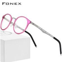 Fonex tr90 óculos quadro masculino feminino vintage redonda prescrição óculos miopia armação óptica óculos retro screwless eyewear
