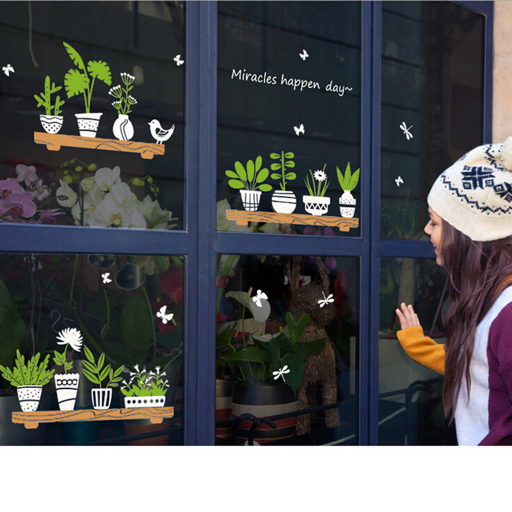 Plant Potted Shop Glass Door Cafe Decoration Wall Stickers Creative Comfortable Warmth Quality Fashion Elegant