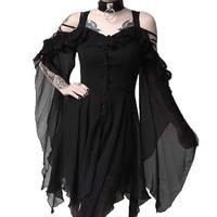 Vestido gótico Vintage de bruja para mujer, Sexy, con encaje calado, volante de cintura alta, trompeta, sin hombros, gótico, Midi