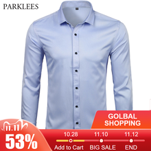 Camisas de vestido de fibra de bambu masculina casual fino ajuste manga longa masculino camisas sociais confortáveis não ferro sólido chemise homme azul