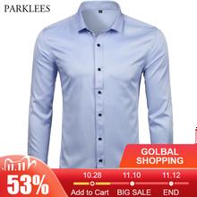Camisas de vestir de fibra de bambú para hombre, camisas informales ajustadas de manga larga para hombre, camisas sociales cómodas, Camisa lisa de hierro azul