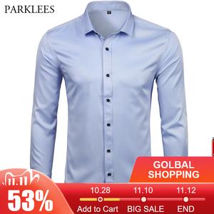 Image 1 - Mannen Bamboevezel Jurk Shirts Casual Slim Fit Lange Mouw Man Sociale Shirts Comfortabele Niet Ijzer Effen Chemise Homme blauw