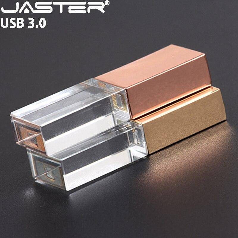 JASTER USB 3.0 Crystal Pen Drive Silver USB Flash Drive 4GB 8GB 16GB 32GB 64GB Black Flash Card Disk Golden Flash Memory Stick