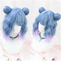 Sweet Lolita Wig Blue Mixed Purple Synthetic Hair Halloween Cosplay Wig for Women Sweet Girls Hair Cute Soft With Buns