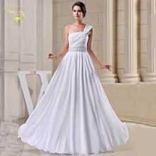 New Arrival Design Fashion Vintage Wedding Dresses 2015 Beading One Shoulder Bride Gown White Ivory Vestidos De Noiva NR33094