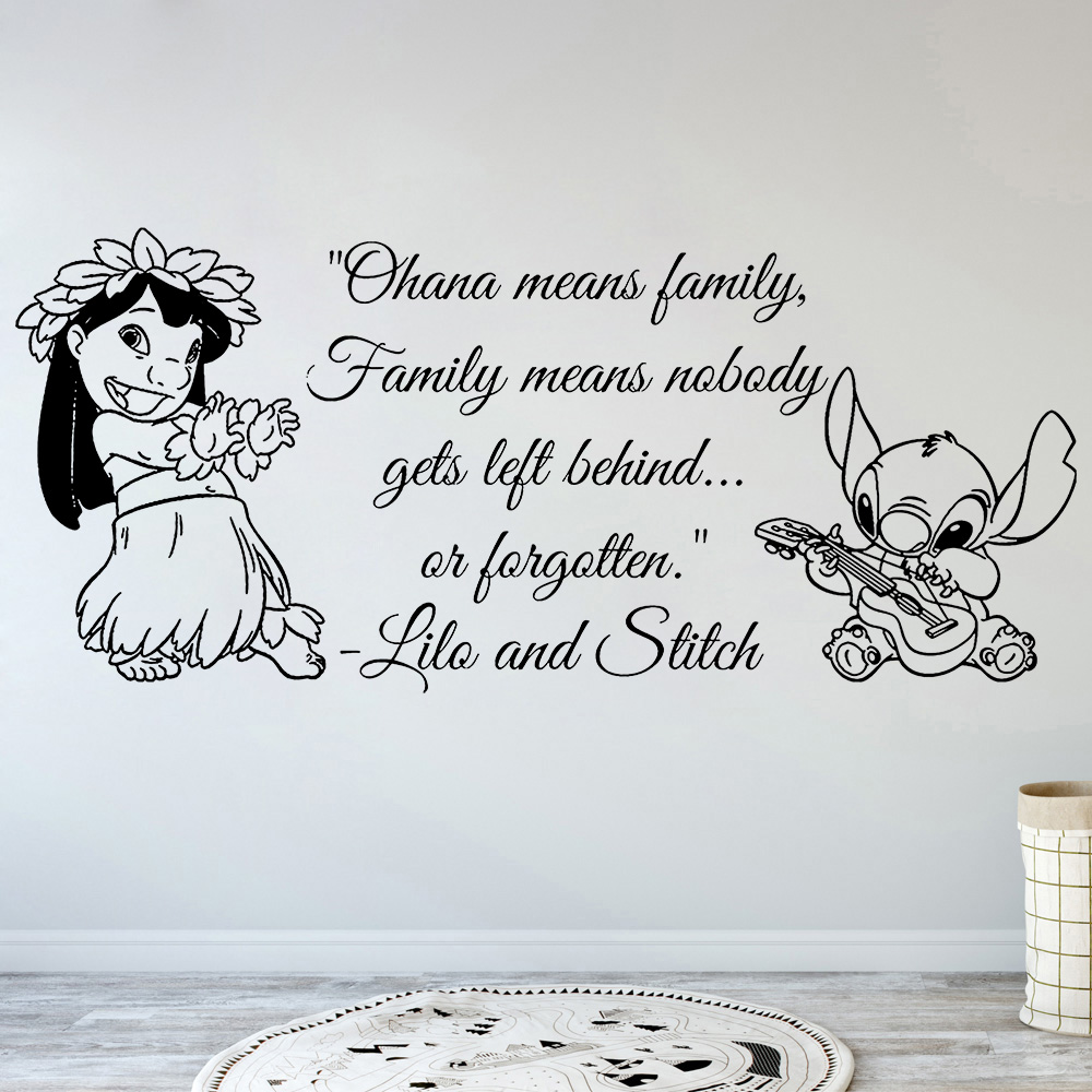 Wall Stickers Art Decor Decals Ohana Family Quote Nursery Inspired Wall Decal Lilo Stitch Ohana Means Family Vinyl Stickers B359(China)