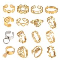 Punk anillos de acero inoxidable Cadena de mujeres anillos abiertos para las mujeres Anillos geométricos corazón anillo de acero anillos joyería para mujer