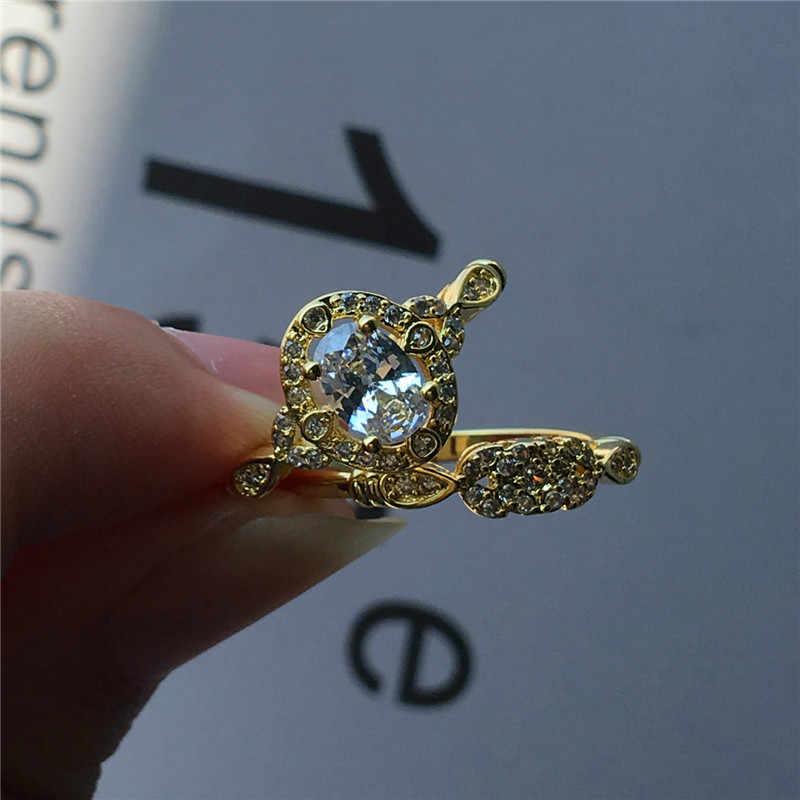 Conjunto de luxo Zircão Anel de Pedra do Sexo Feminino Do Vintage Oval Anéis de Casamento Para As Mulheres Promessa Amor Ouro Amarelo Anel De Noivado Nupcial
