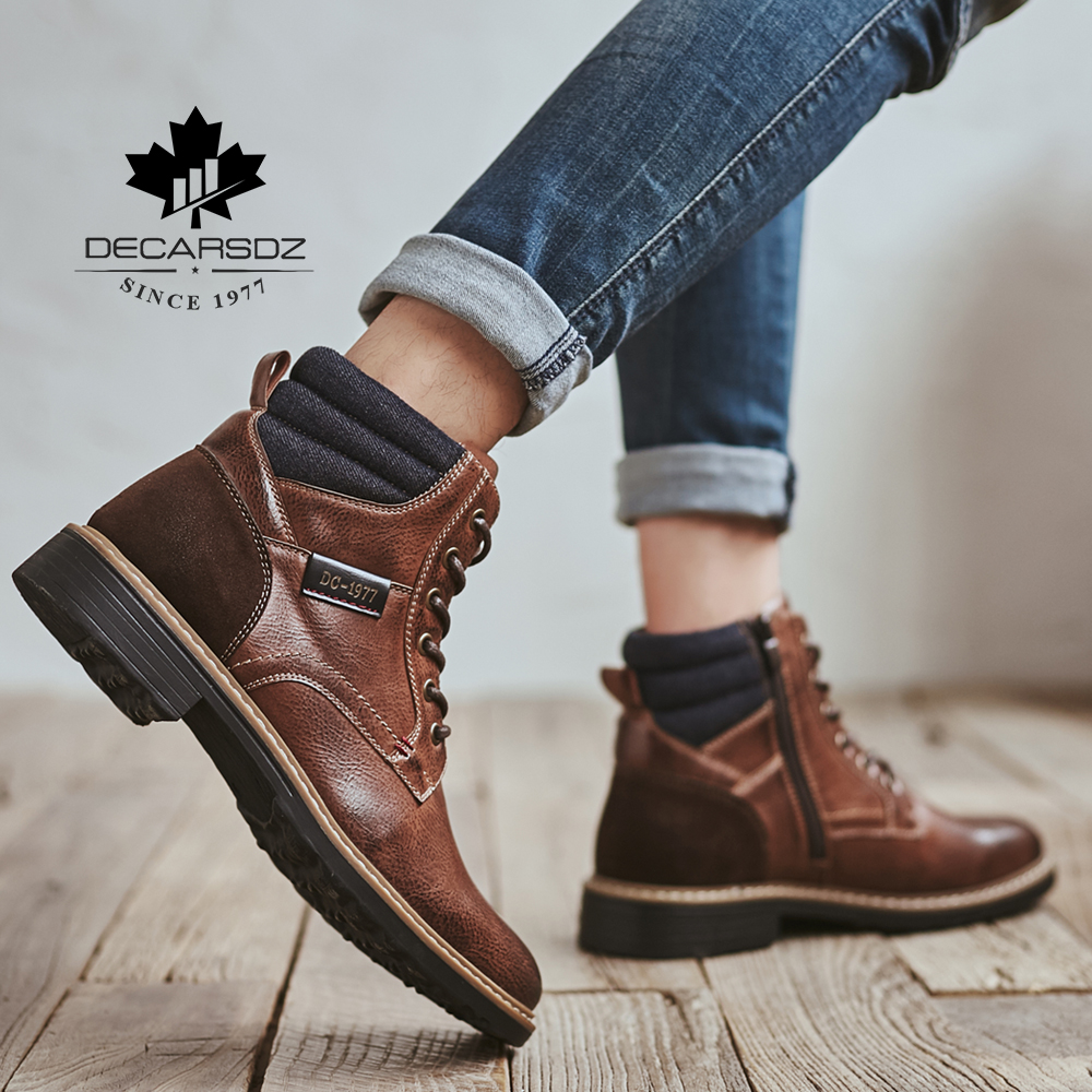 DECARSDZ Men Boots Comfy Lace-up High Quality Leather Men's Boots 2020 Autumn Fashion Shoes Man Durable outsole Men Casual Boots 5