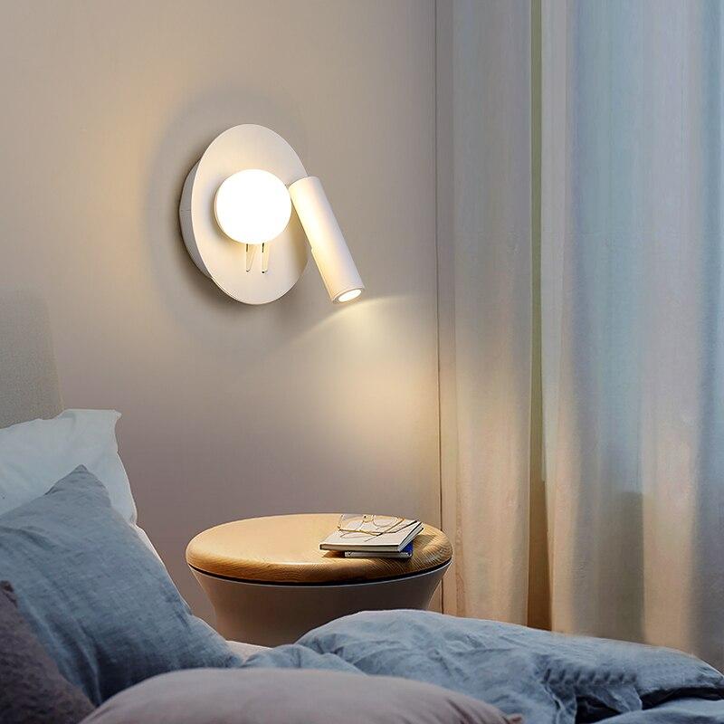Современный белый светодиодный настенный светильник, круглые точечные Настенные светильники для спальни, прикроватный светильник для
