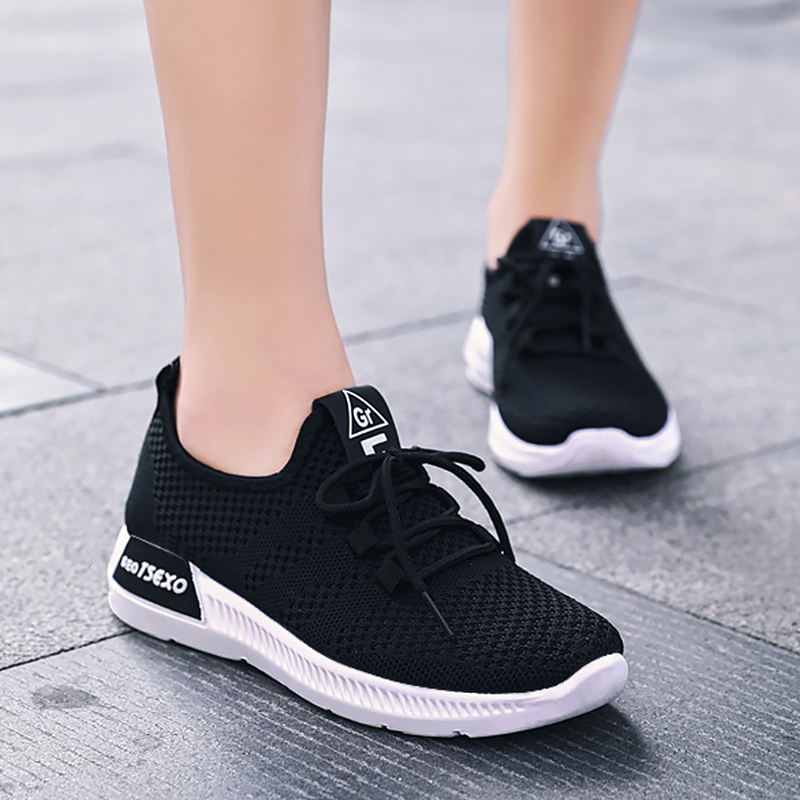 Women's shoes Air mesh Breathable Casual woman sneakers Tennis Lace Up Platform sneakers Light weight Tenis feminino