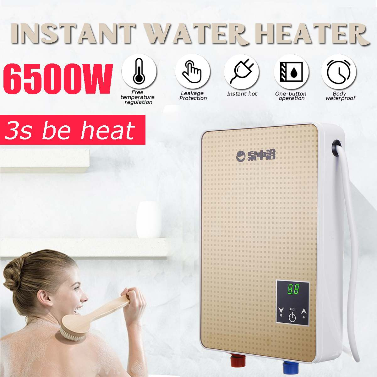 3s Instant Hot 6500W 220V Electric Hot Water Heater Tankless Instant Boiler Bathroom Shower Set Thermostat Safe Intelligent Auto