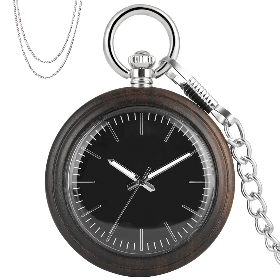 Luminous Pointer Ebony Quartz Pocket Watch Creative Light-Weight Pendant Pocket Clock Retro Fashioned Necklace Watch Gifts