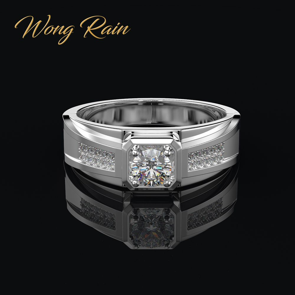 Wong Rain Real 925 Sterling Silver Created Moissanite Gemstone Wedding Engagement Unisex Women Men Ring Fine Jewelry Wholesale