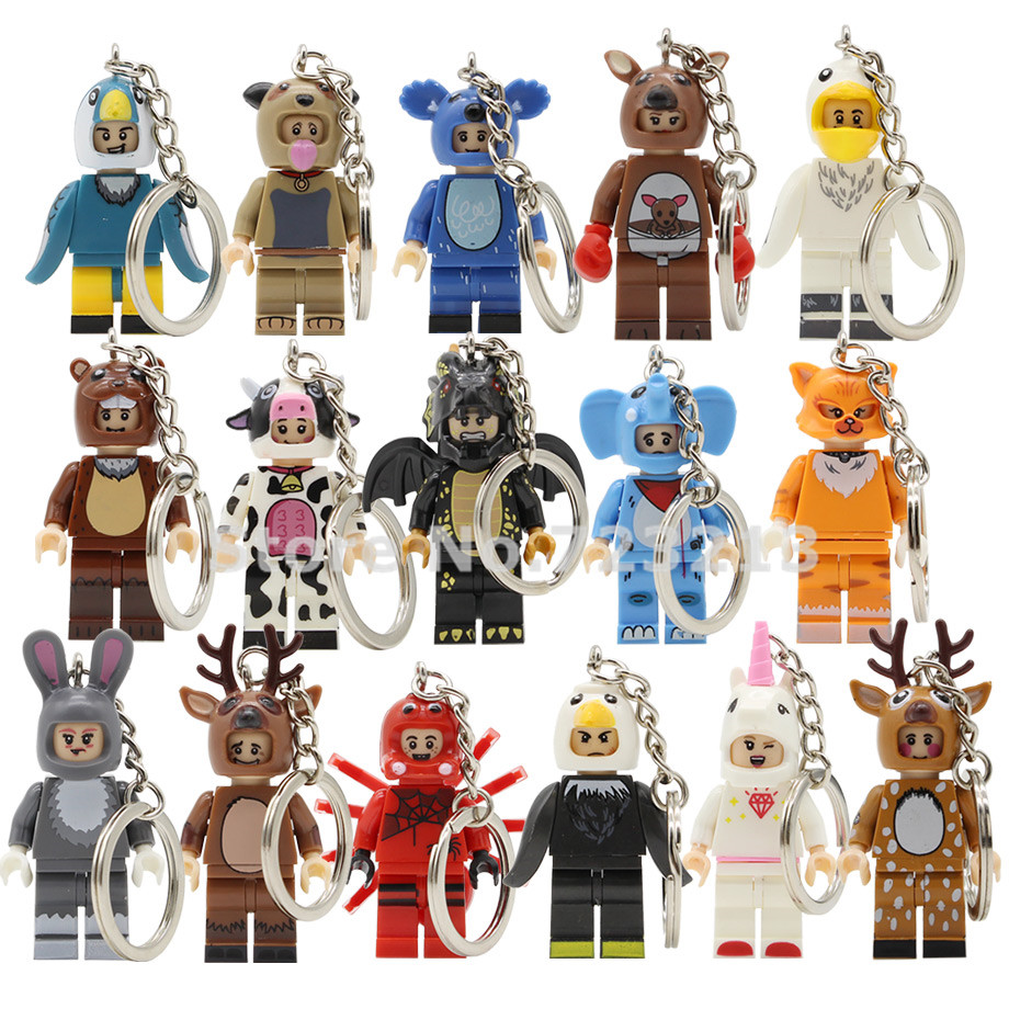Animal Figure Keychain Otter Sika Dragon Deer Kangaroo Koala Rabbit Cat Pelican Elephant Building Blocks Bricks Toys Legoing