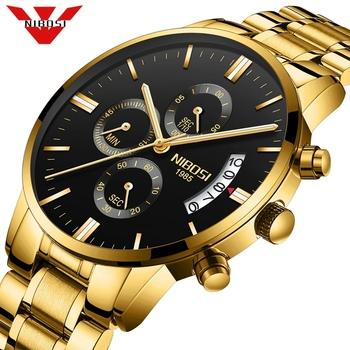 NIBOSI Relogio Masculino mężczyźni zegarki luksusowe słynny top marka moda męska Casual Dress Watch wojskowe zegarki kwarcowe Saat tanie i dobre opinie Luxury ru QUARTZ Przycisk ukryte zapięcie 3Bar STAINLESS STEEL 18cm 10 65mm 22mm ROUND Kwarcowe Zegarki Na Rękę Papier